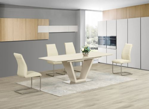 GA loriga Cream Gloss Glass Designer Dining Table Extending 160/220 cm Chairs 2 colours